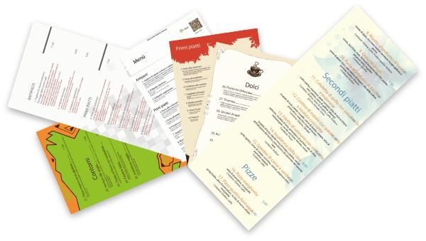 Le diverse grafiche dei menù cartacei myfood